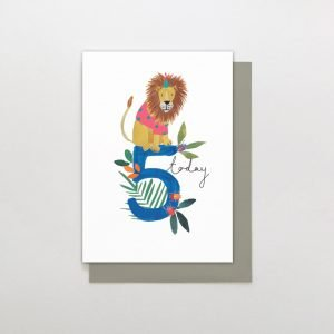 A cute card from the Wild at Heart range of cards by Stop the Clock. The white card has an image of a painted lion sitting on a blue number 5 in the centre of it.