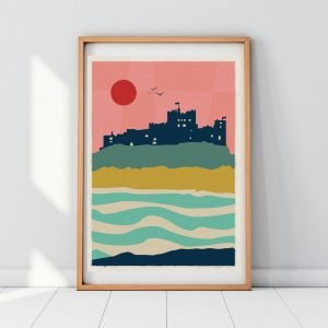 A colourful geometric print with Bamburgh Castle as the main focus. From local artis Gary WIlliams from the Left Hand Gang